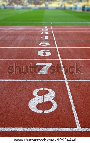 Starting grid of race track at a stadium - stock photo