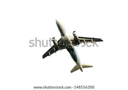 starting jet isolated on white - stock photo