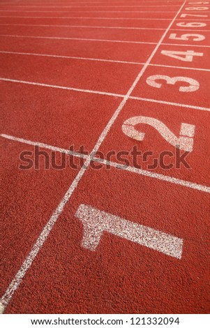 starting line for track competition - stock photo