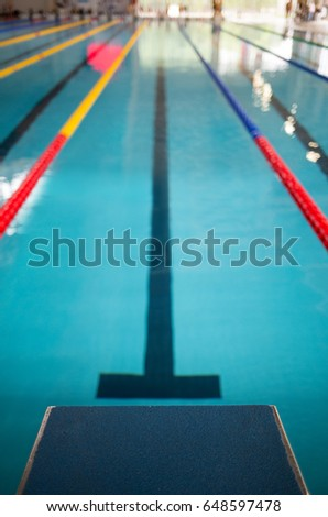 starting line in indoor swimming pool olympic swimming pool