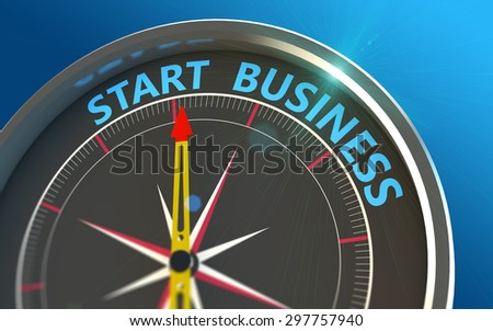 Starting up a new business in the compass as a concept - stock photo