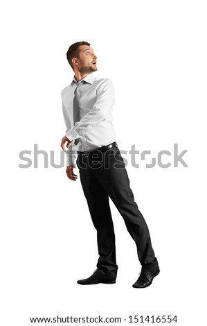 startled businessman looking around. isolated on white background - stock photo