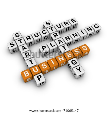 startup business   (3D crossword orange series) - stock photo