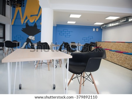 startup business office interior details, bright modern working space - stock photo