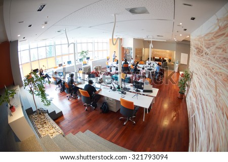 startup business people group working everyday job  at modern office - stock photo