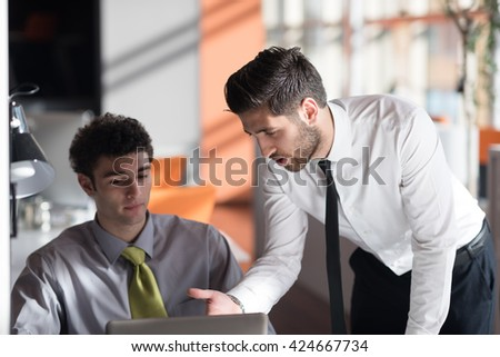 startup business people group working together everyday job at modern office - stock photo