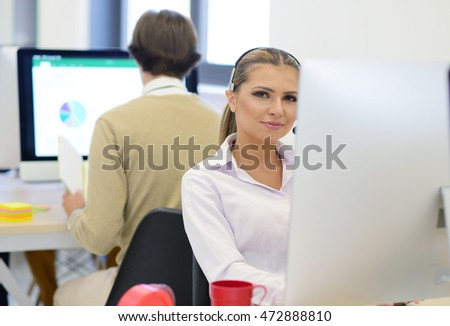 startup business, young beautiful woman as software developer working on computer at modern office