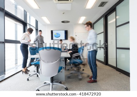 Startup business young creative people group entering meeting room modern office interior and motion