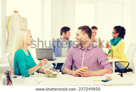 Group Cheerful Young People Looking Laptop Stock Photo