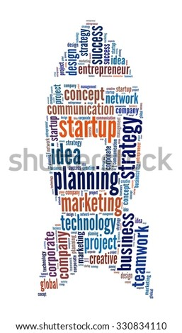 Startup in word collage - stock photo