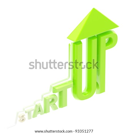 Startup word made as a growing stock graph isolated on white