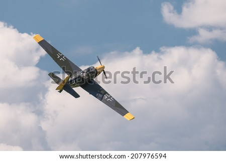 STARY TEKOV, SLOVAKIA - JULY 26,2014: Historic german bomber Zlin 205 during reenactment of World War II fights in Slovakia during reenactment of World War II fights in Slovakia - stock photo