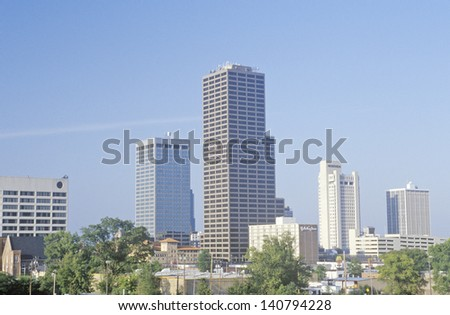 State capital and skyline in Little Rock, Arkansas - stock photo