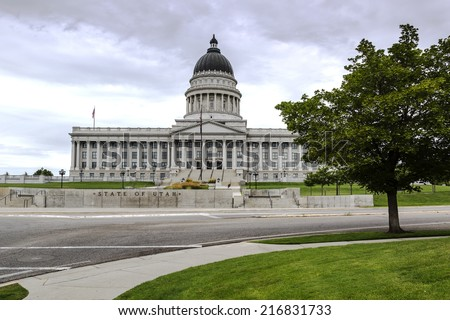 State Capitol Building in Salt Lake City Utah on a stormy day.