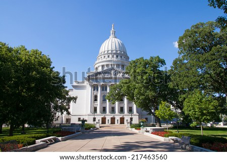 State Capitol of Wisconsin, Madison, USA. Wisconsin is a tributary of the Mississippi River in Wisconsin, a midwestern state in north central United States - stock photo