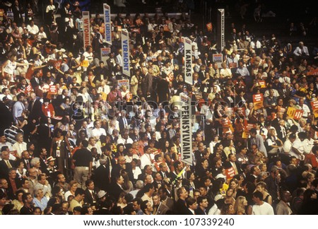 State delegations and signs at the 2000 Democratic Convention at the Staples Center, Los Angeles, CA - stock photo