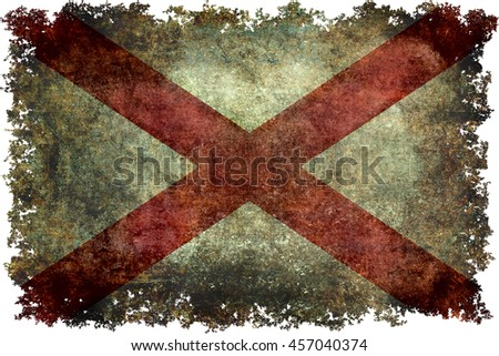 State flag of Alabama with grungy distressed textures and edges. - stock photo