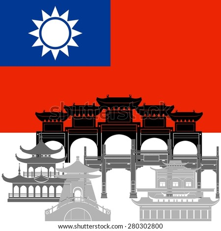 State flags and architecture of Taiwan. Illustration on white background.