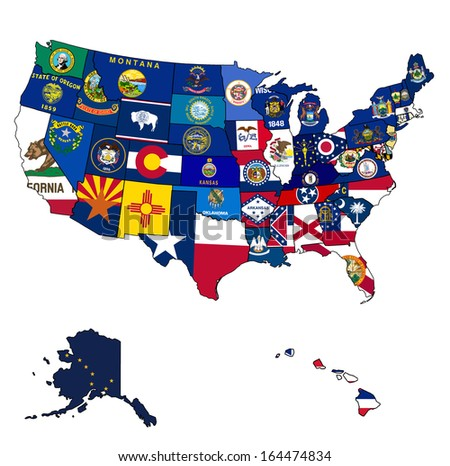 Us Map Flags States On White Stock Vector Shutterstock - Us state flag map