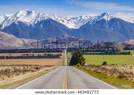 State Highway 73, the West Coast Road, near Lake Grasmere in Canterbury, New Zealand.