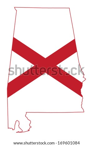 State of Alabama flag map isolated on a white background, U.S.A. - stock photo