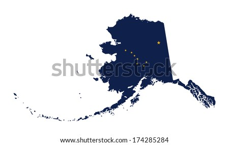 State Of Alaska Flag Map Isolated On A White Background U S A