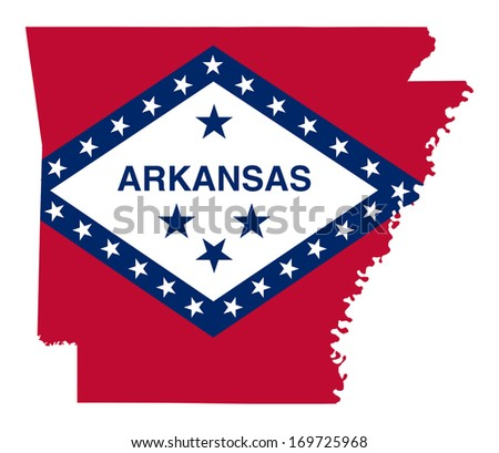 State of Arkansas flag map isolated on a white background, U.S.A. - stock photo