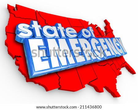 State of Emergency 3d words on United States of America map to illustrate a national crisis or disaster for the country - stock photo