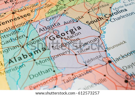 State Of Georgia On The Map Of The Usa