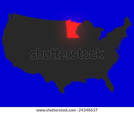 State Of Minnesota Highlighted Red