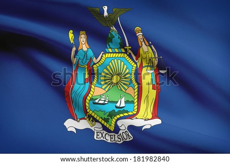 State of New York flag blowing in the wind. Part of a series. - stock photo