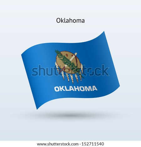 State of Oklahoma flag waving form on gray background. See also vector version. - stock photo