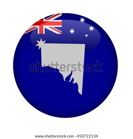 State of Southern Australia map button on a white background. - stock photo