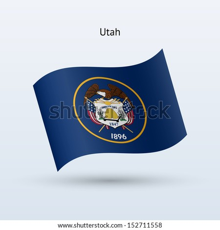 State of Utah flag waving form on gray background. See also vector version. - stock photo