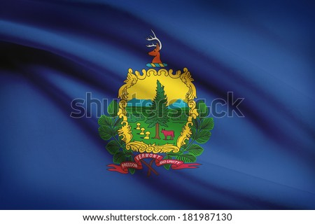 State of Vermont flag blowing in the wind. Part of a series. - stock photo
