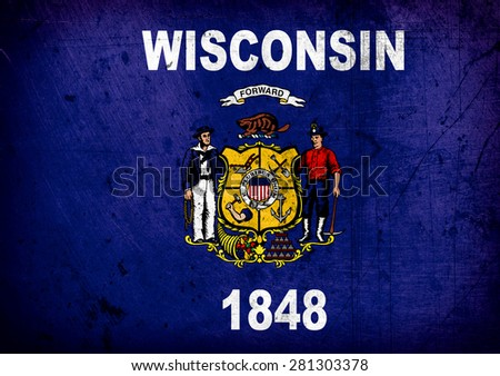 State of Wisconsin grunge Flag - stock photo