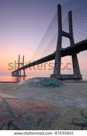 State park and bridge over tagus river in Lisbon Portugal