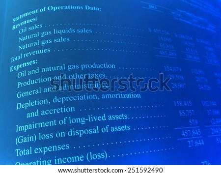 Statement of Operations Data - stock photo