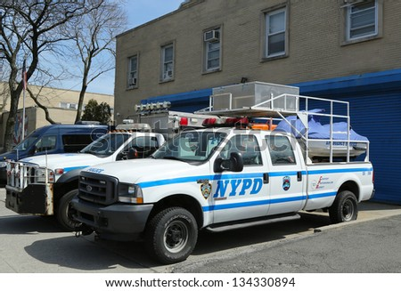 STATEN ISLAND, NY- APRIL 4:NYPD emergency service vehicles ready to help in Staten Island, NY on April 4, 2013. The New York  Police Department, established in 1845, is the largest police force in USA - stock photo