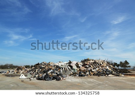STATEN ISLAND, NY - APRIL 4: Piles of debris were not removed more than 5 months after Hurricane Sandy in Midland Beach, Staten Island on April 4, 2013
