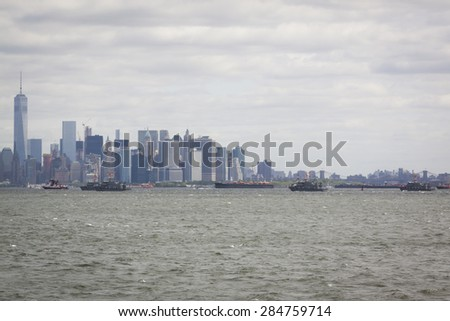 STATEN ISLAND, NY - MAY 20 2015: U.S. Naval Academy Yard Patrol Craft near Lower Manhattan on the Hudson River during the Parade of Ships, which begins Fleet Week.  - stock photo