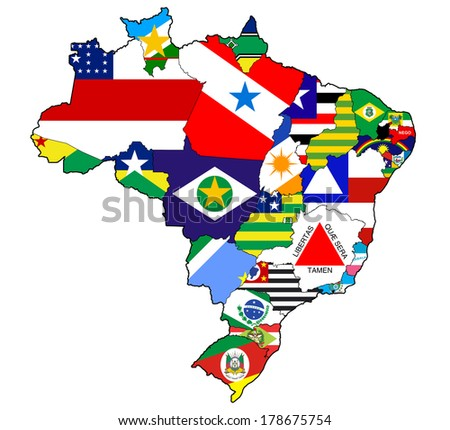 states and regions on administration map of brazil with flags