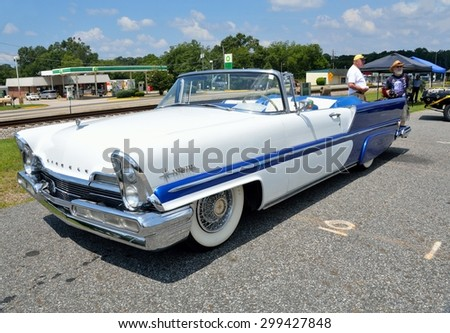 STATHAM, GEORGIA, USA - JULY 18, 2015: Classic Premiere Lincoln automobile displayed at the Drive In Car Show at Statham, Georgia. - stock photo