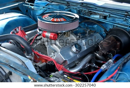 STATHAM, GEORGIA, USA - JULY 18, 2015: Customized car engine displayed at the annual Drive In Car Show. This event was held at Statham, Georgia. - stock photo
