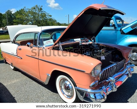 STATHAM, GEORGIA, USA - SEPT 19, 2015: Restored classic Chevrolet automobile on display at the annual Sun Flower Festival car show at Statham, Georgia. - stock photo