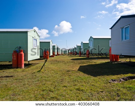Static holiday caravans at a camping site