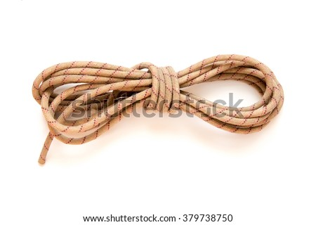 static rope for mountaineering, isolated on white. Top view. Climbing equipment - stock photo