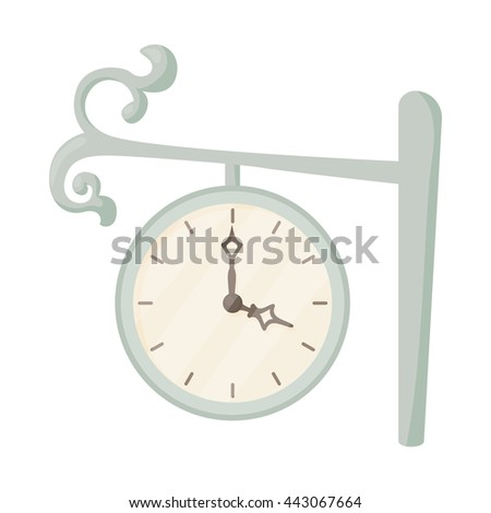 Station clock icon in cartoon style on a white background