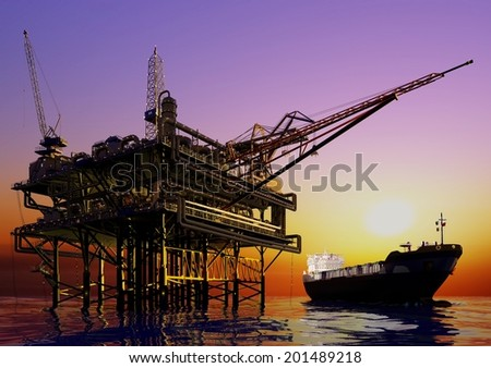 Station  oil and tanker at sea. - stock photo
