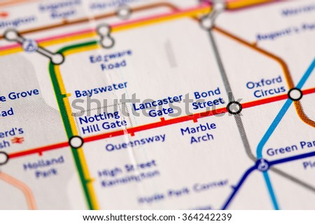 station on a map of the central metro line in london uk